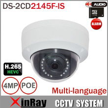 Multi-idioma DS-2CD3145F-IS Full HD PoE Cámara de $ number MP Soporte H.265 HEVC Con Ranura Para Tarjeta DEL TF y de Audio I/O Mini Domo IP POE Cámara