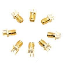 10 pièces 1.6mm SMA femelle Jack soudure écrou bord PCB pince montage droit plaqué or RF connecteur prise soudure