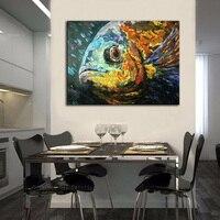 100% 수제 현대 추상 골드 물고기 팔레트 나이프 유화 캔버스 순수 손으로 그린 독특한 예술 아크릴 사진
