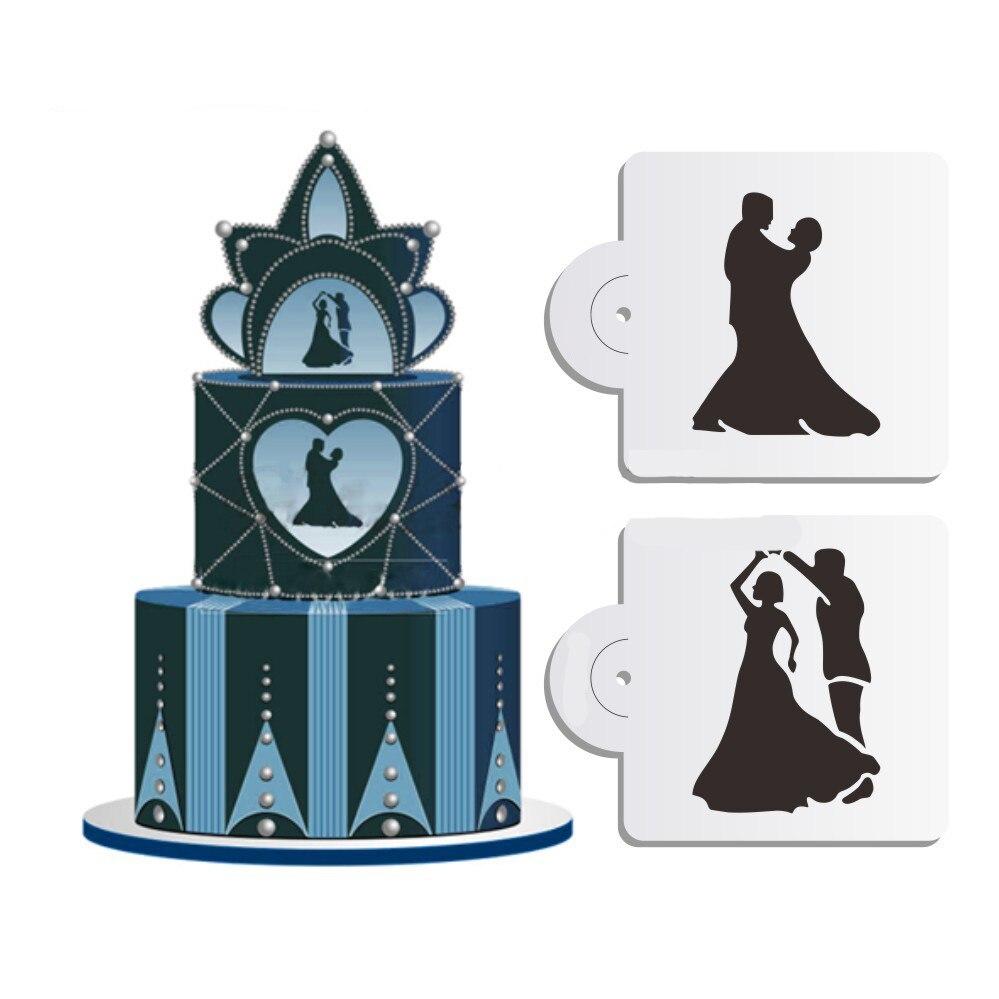 Cake Stencil Set 2PCS Wedding Cake Stencils Decoration Cupcake Stencil Mold Dancing Lovers For Wedding