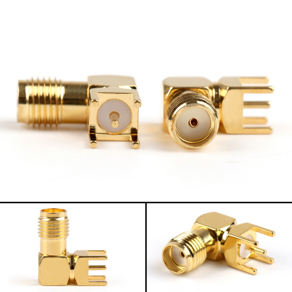 Areyourshop Sale 50Pcs Gold-Plated SMA Female Right Angle Solder PCB Mount RF Connector 14.5mm