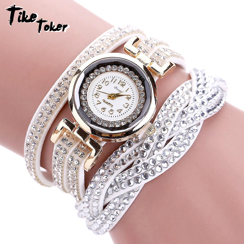 TIke Toker, Mode Luxe Strass Armband Dameshorloge, Dames Quartz - Herenhorloges