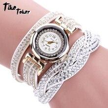 Тике Toker, модные роскошные горный хрусталь браслет Для женщин часы женские кварцевые часы Relogio Feminino hombre Повседневное Для женщин наручные часы