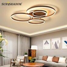 Simple Rings Led Ceiling Lights For Living room Bedroom Lights Acrylic White&Coffee Modern Led Ceiling Lamp Lighting Fixtures цена в Москве и Питере