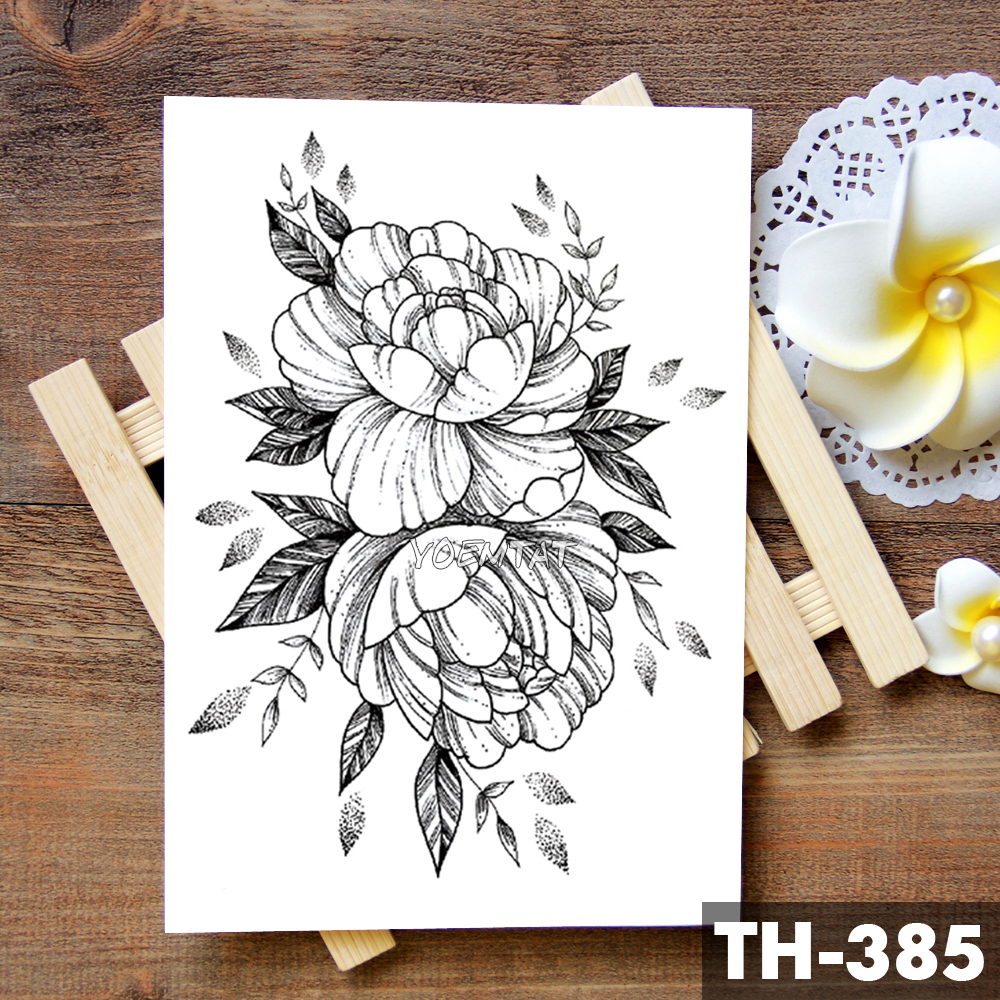 Sketch Flower Blossom Peony Rose Waterproof Temporary Tattoo Sticker Black Tattoos Body Art Arm Hand Girl Women Fake Tatoo 1