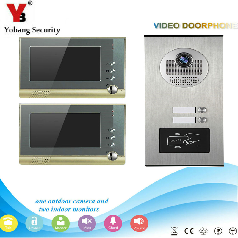 Yobang Security 7 Video Intercom Doorbell Apartment Door Phone + 2 Monitors IR Camera for 2 Family + RFID Access System 1v3 doorbell camera 2 4ghz video wireless videocitofono video door phone with 3 indoor monitors for door access security