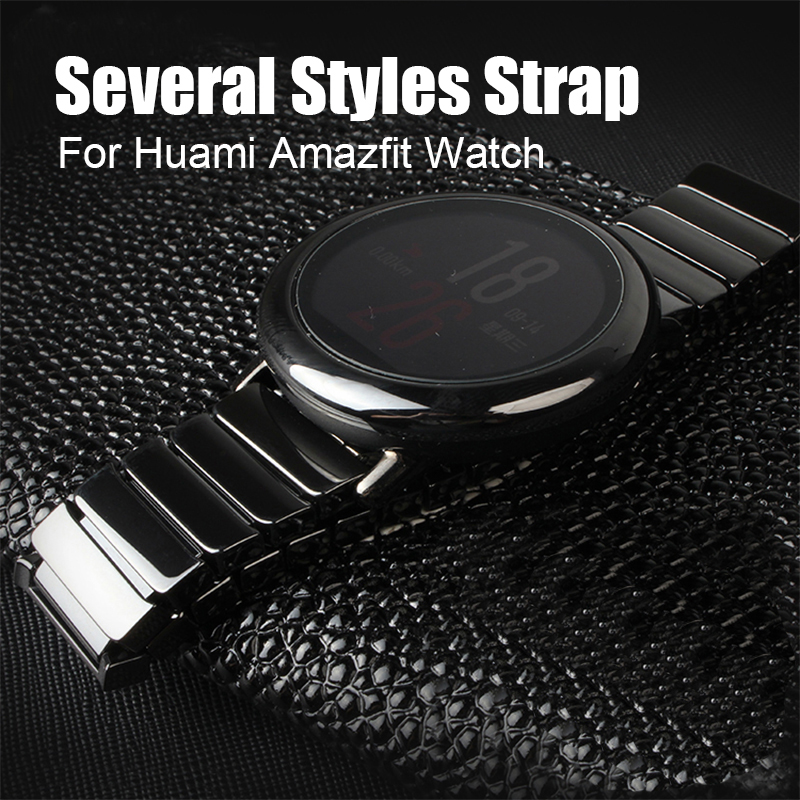 SIKAI 20mm Stainless Steel Watch Band For Huami Bip BIT PACE Lite Youth Ceramic Universal Watch Strap For Amazfit GTR 42mm