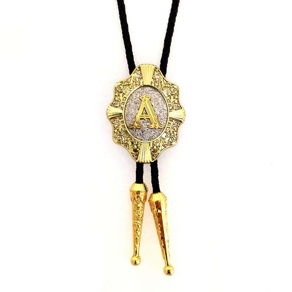 Gold A Cross Shield Bolo Tie Cowboy Cowgirl Western Wedding Bolo Tie Leather Necktie