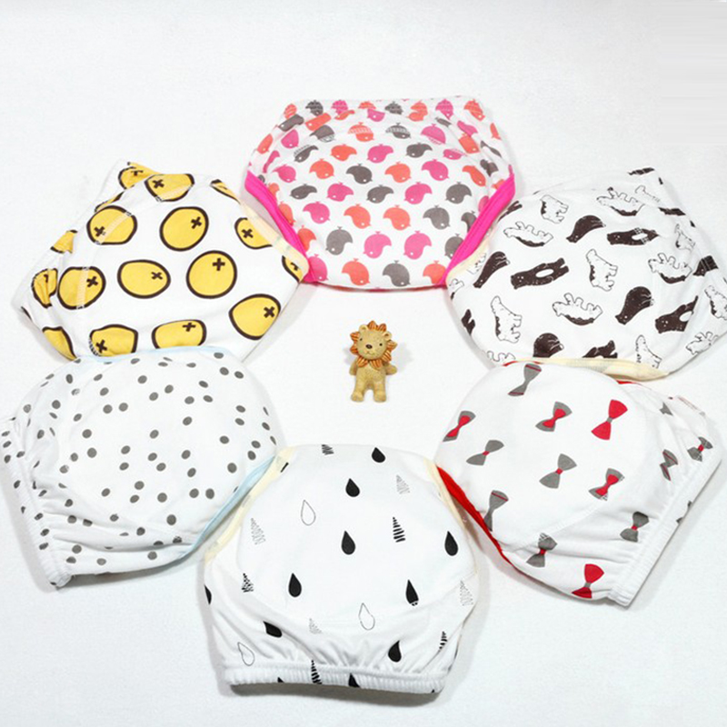 6Pcs Cute Baby Diapers Reusable Nappies Cloth Diaper Washable Infants Children Baby Cotton Training Pants Panties Nappy Changing