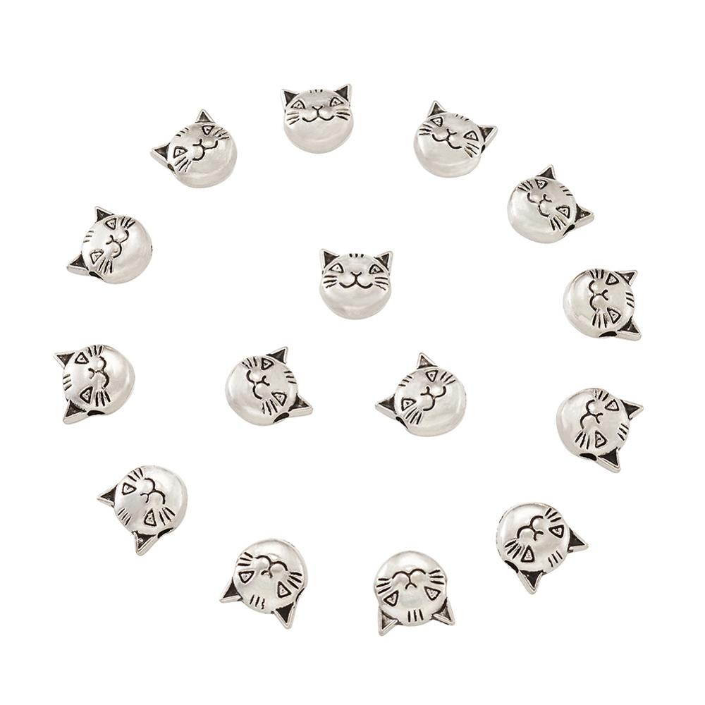 Tibetan Style Antique Silver Color Cat Head Beads For Jewelry Making Big Hole Star Heart Shape Metal Bead Diy Findings Handmade(China)