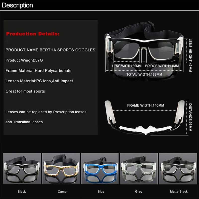 952002e7c36 ... Bertha Outdoors Sports Glasses Prescription Glasses Safety Protective  Goggles For Basketball Football Volleyball Baseball 1006 ...
