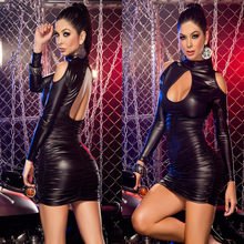 2017 New Black Long Sleeve Faux Leather Dress Backless Slim Waist Mini Dress Latex Rubber Catsuit Stripper Club Pole Dance
