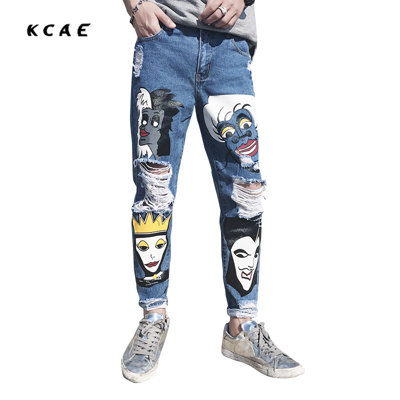 2017 New Graffiti Printing Patch Biker Hip Hop Men Jeans Pants Fashion Casual Hole Ripped Denim Mens Blue 9 points trouser fashion mens male pants brand zipper jeans men hip hop pants slim hole patch casual jeans fashiontrouser for men free shipping