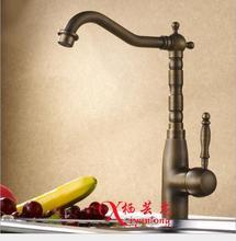 Фабрика оптовая торговля антикварной 100% медь кухонный кран горячей и холодной одной ручкой на одно отверстие кран раковины кран вращение на 360