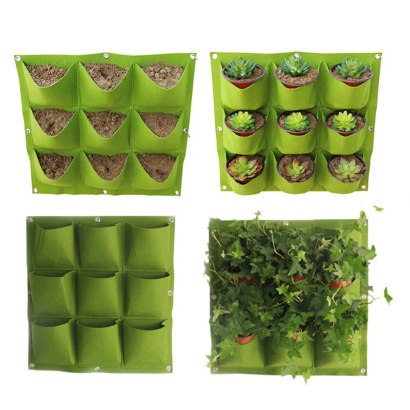 Green Vertical Planting Bag Wall Hanging Plant Flowers Strawberry