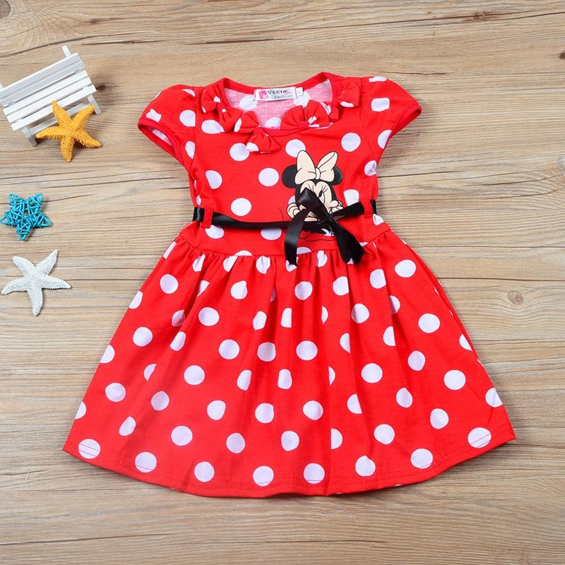 a8bd9502 Verano de 2018 lindos puntos de dibujos animados Mickey Minnie Mouse  cumpleaños de princesa vestido de algodón de las niñas vestido de fiesta  las niñas de ...