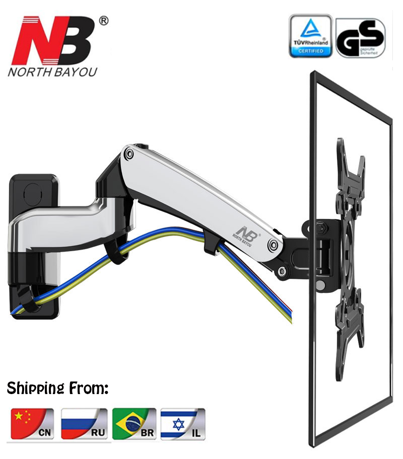 NB F300 Gas Spring 360 Degree 30 40 TV Wall Mount LCD Monitor Holder Aluminum Mirror