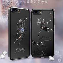 원래 Kingxbar Electroplated 하드 PC 크리스탈 라인 석 케이스 애플 아이폰 7 8/플러스 럭셔리 슬림 다이아몬드 다시 케이스 커버