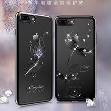 Orijinal Kingxbar elektroliz sert PC kristaller Rhinestone kılıf Apple iPhone 7 için 8/artı lüks İnce elmas geri durumda kapak
