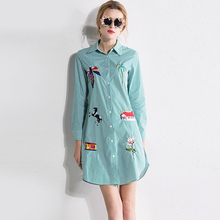 Casual Striped Blouses Fashion Long Lantern Sleeve Green 2017 Spring Summer Soft Slim Embroidery Turn-down New Ladies Blouse