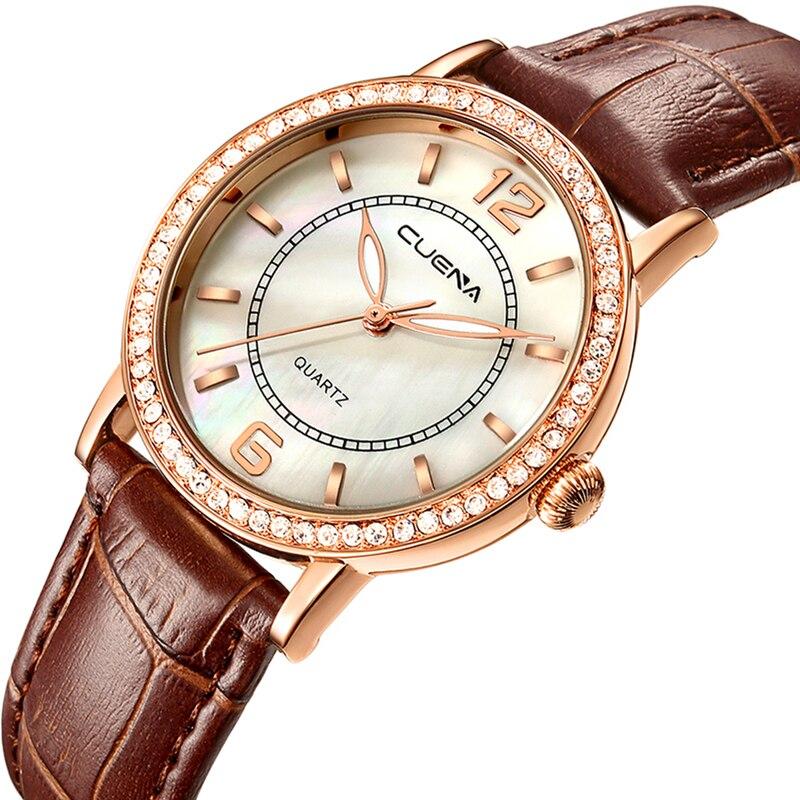 CUENA Luxury Women Watches Waterproof Quartz Watch Leather Fashion Brand Lady Watch for Woman Relogio Feminino Montre Femme 2018