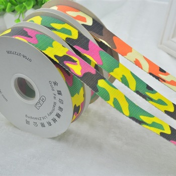 The production of professional screen printing ribbon ribbon camouflage clothes washing mark