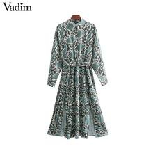 Vadim chic snake print shirt dress animal pattern bow tie sashes elastic waist pleated long sleeve midi dresses vestidos QB240