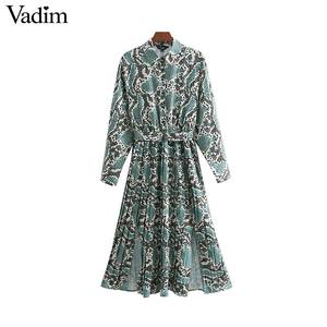 Image 1 - Vadim elegante vestido estampado de serpiente camisa patrón animal pajarita fajas cintura elástica plisada manga larga vestidos midi vestidos QB240
