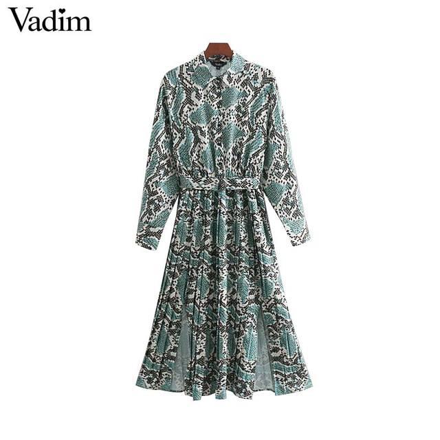 Vadim elegante vestido estampado de serpiente camisa patrón animal pajarita fajas cintura elástica plisada manga larga vestidos midi vestidos QB240