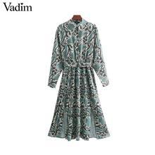 Vadim שיק נחש הדפסת חולצה שמלת בעלי החיים דפוס עניבת פרפר אבנט אלסטי מותניים קפלים ארוך שרוול midi שמלות vestidos QB240
