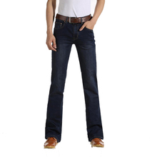 Free Shipping Men's Business Casual Jeans Male Mid Waist Elastic Slim Boot Cut Semi-flared Four Seasons Bell Bottom Jeans 28-38