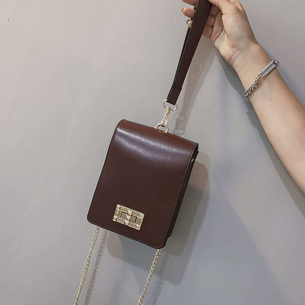 Vintage Women Shoulder Bag PU Leather Handbag Purse Phone Pouch Metal Chain Girl Casual Crossbody Bags 88 9 Popular