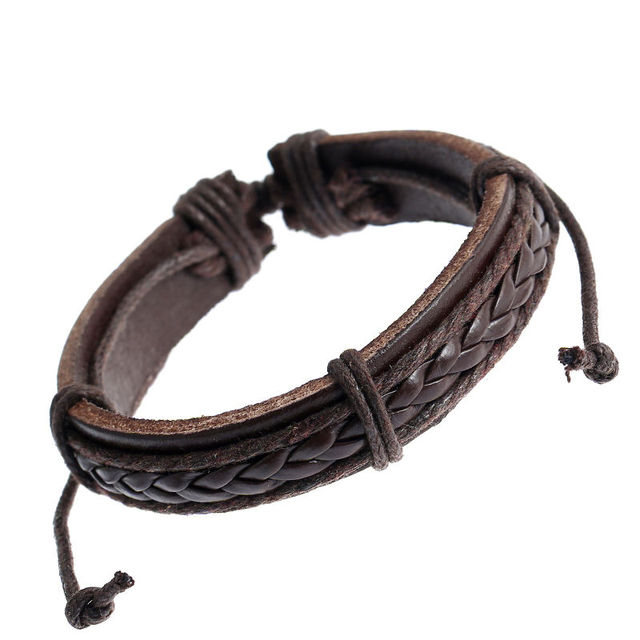 1pcs New Fashion Leather Braided Surfer Wristband Bangle Bracelets Jewelry