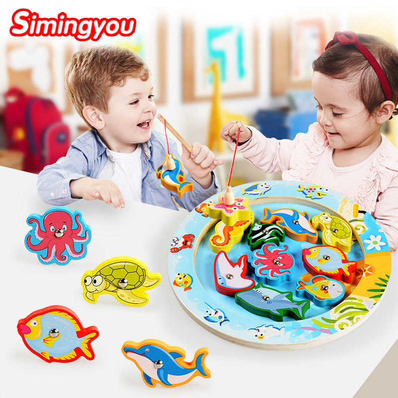 Simingyou Wooden Toy Brinquedos Magnetic Fishing Toys Learning Toys For Children C20-E39 Drop Shipping