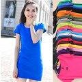 Nueva llegada 2015 del color del caramelo de las mujeres camiseta del verano modal de la corto barato del o-cuello tops camisetas de manga larga camiseta casual tops 17 colores