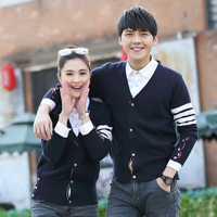 New Casual Fashion Love Couple Clothes TB Men Women Knitting Wool Blend Cardigan Sweaters Autumn Winter
