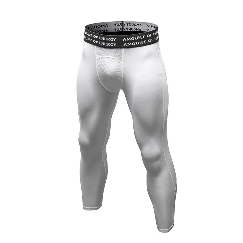 Men Base Layer Quick Drying Pants Compression Trousers Fitness Calf-Length Pant