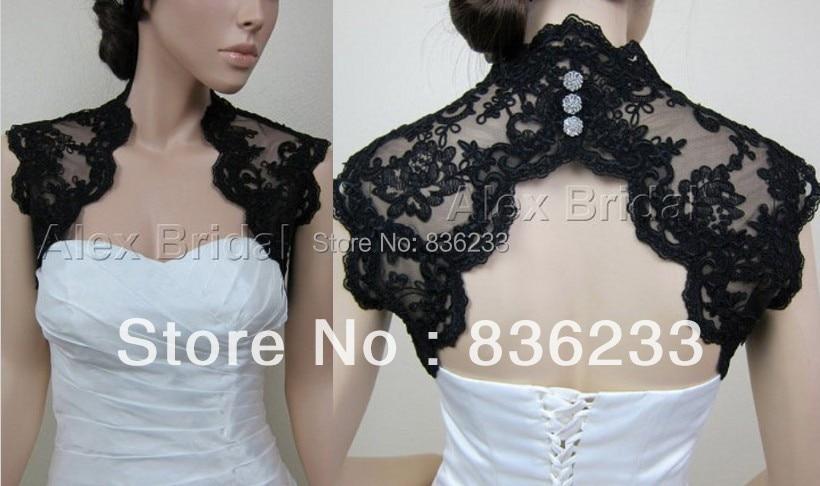 Dramatic black lace beaded keyhole back shrug wrap bridal for Black lace jacket for wedding dress