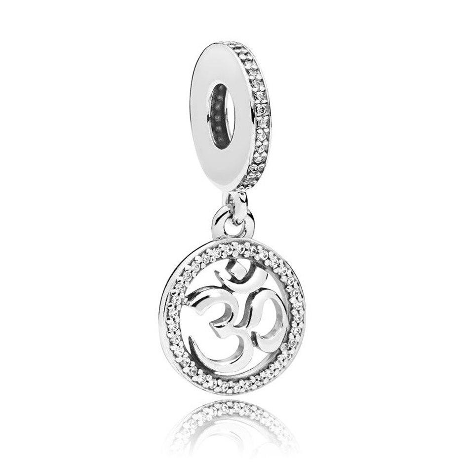 925 Sterling Silver DIY Jewelry Om Symbol Dangle Charm fit Pandora Bracelet Bangle Clear CZ925 Sterling Silver DIY Jewelry Om Symbol Dangle Charm fit Pandora Bracelet Bangle Clear CZ