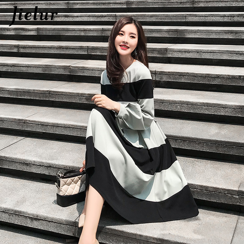 Jielur Elegant Green Black Striped Dress for Women Winter Autumn Lantern Sleeve Ladies Dresses S-XL Hipster Midi Dress Fashion