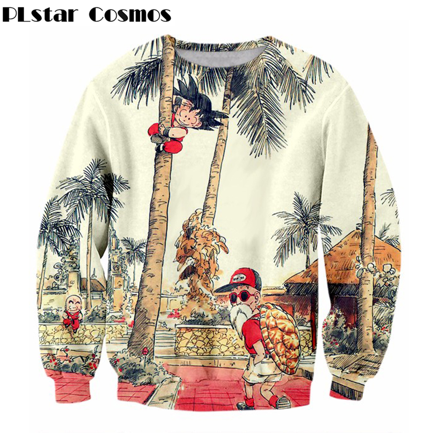 PLstar Cosmos 2018 New Fashion Felpa Anime Dragon Ball Z Kid Goku e Maestro Roshi 3d Stampa Uomo Donna Girocollo Pullover