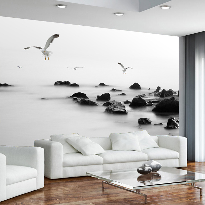 Custom Photo Wallpaper Modern Black And White Artistic Conception Stone Photo Mural Wallpaper For Walls 3D Living Room Bedroom