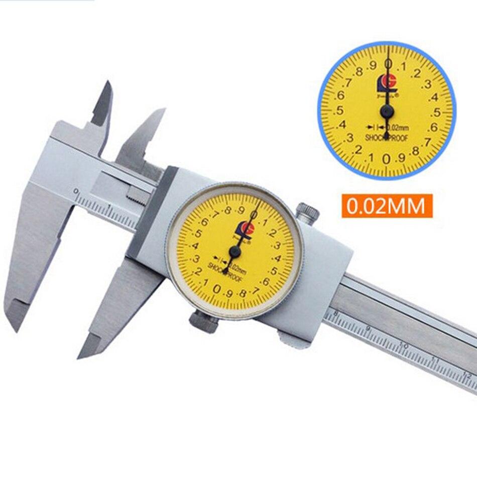 Dial Caliper 0 150/0 200/0.02 Vernier Gauge Paquimetro Ferramentas Measuring Tools Metalworking Stainless steel Chromepl