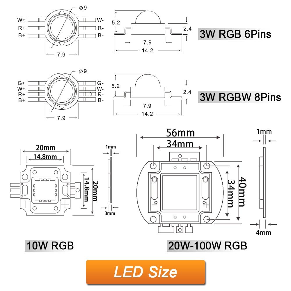 Hontiey Wholesale RGB LED Chip 3W 10W 20W 30W 50W 100W High Power ...