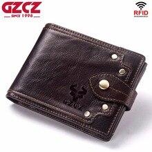 GZCZ חדש 100% אמיתי עור ארנק גברים זכר מטבע ארנק Portomonee מהדק לכסף עבור רוכסן כיס כרטיס וו בעל כסף תיק