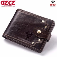 GZCZ New 100% Genuine Leather Wallet Men Male Coin Purse Portomonee Clamp For Money For Zipper Pocket Card Holder Hasp Money Bag
