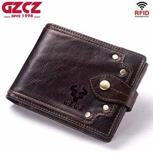 Image 1 - GZCZ nowy 100% prawdziwej skóry portfel mężczyźni męska portmonetka Portomonee zacisk na pieniądze na kieszeń na suwak posiadacz karty Hasp portfel