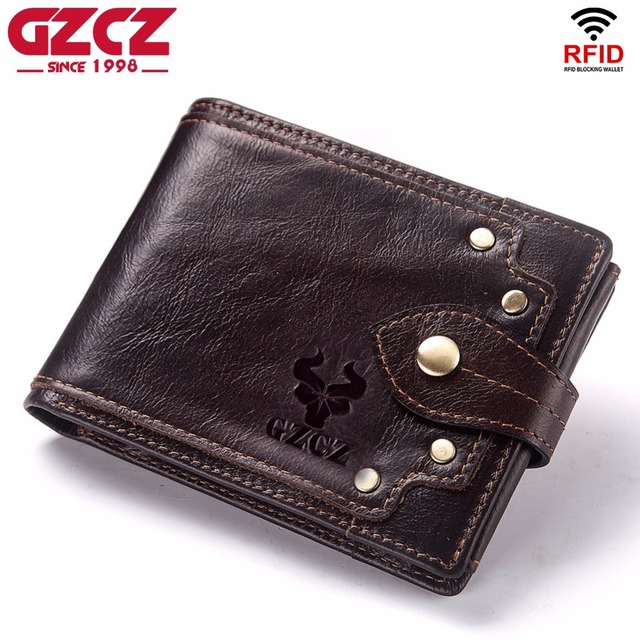 GZCZ nowy 100% prawdziwej skóry portfel mężczyźni męska portmonetka Portomonee zacisk na pieniądze na kieszeń na suwak posiadacz karty Hasp portfel