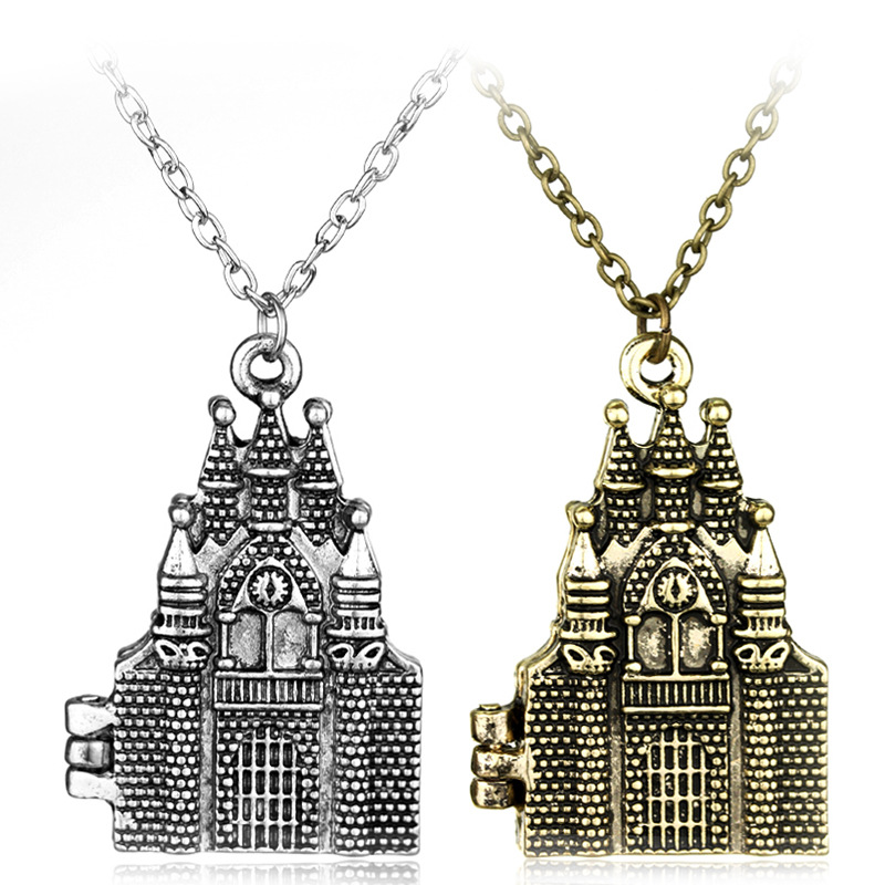 Hogwarts School Of Witchcraft And Wizardry Castle Model Locket Necklace Halloween Christmas New Year Kid Birthday Gift