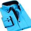 2016 Осень Мужчины Платье Рубашки С Длинным Рукавом Белые Рубашки Slim Fit Двойной Воротник Бизнес Случайные Мужчины Рубашку camisa masculina S-4XL